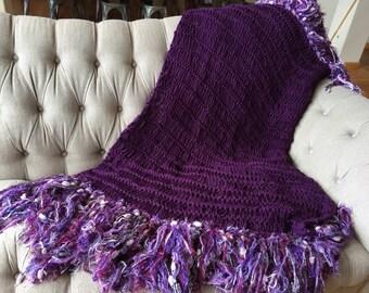 Purple Fringe Throw Blanket Purple Decor Purple Afghan Big Warm Blanket Purple Housewares Knitting