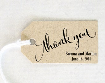 Thank You Tag, Wedding Favor Tag, Personalized Gift, Party Favor, Bridal Shower Take Away Gift - Set of 25 (SMGT-CAN)