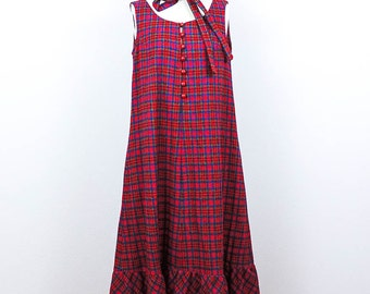 70s Vintage Plaid Tent Dress/ Red Plaid Wool LANZ Dress, 1970's Vintage Midi Boho Dress, Medium Size M