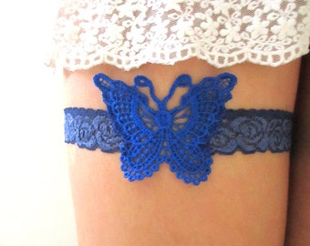 Bridal Garter French Jarretelle Wedding Garter Romantic Boho Woodland Bridal Accessories : RAMA Butterfly Royal Blue Embroidered Lace Garter