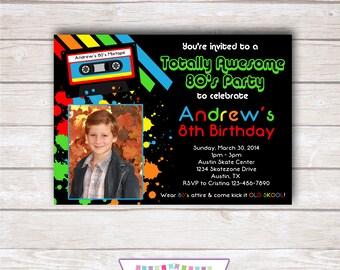 80s RETRO Photo Birthday Party Invitation - Boy Printable