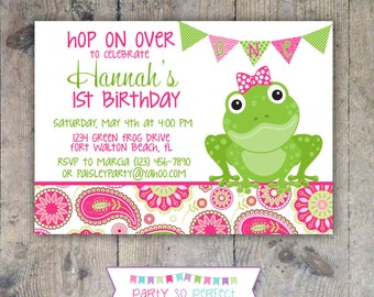 FROG PINK & PAISLEY Birthday Party Invitation - Girl Printable