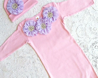 Pink Baby Infant Layette Gown, beanie hat or headband set Pink with lavender flowers, rhinestones. Newborn girls, photos, going home outfit