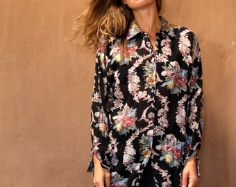 vintage FRESH PRINCE floral 90s slouchy oversize grunge blouse shirt