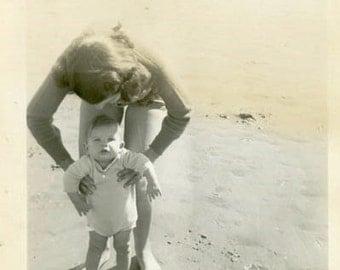 "Vintage Photo ""Beach Baby"" Mother Holding Children Snapshot Photo Antique Photo Black & White Photograph Found Photo Paper Ephemera - 123"