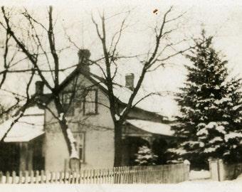 "Vintage Photo ""Cozy Christmas"" House Snapshot Photo Old Antique Photo Black & White Photograph Found Photo Paper Ephemera Vernacular - 175"