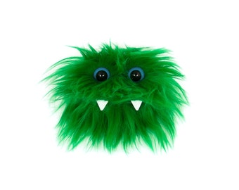 Mini Eco Friendly Monster - Elliot - Colorful Green Furry Altered Altoids Tin. Great for gifts, party favors, teen or child wallet  Kawaii
