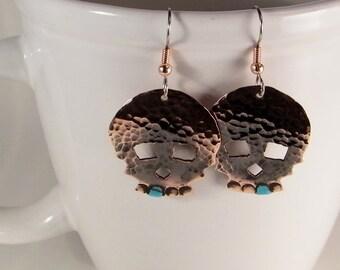 Bluetooth Skull Earrings SHIPS IMMEDIATELY Handmade Hammered Copper Skull Earrings