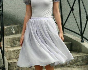 Light purple, lilac tulle midi skirt with grey viscose underskirt braidsmaids,formal,everyday