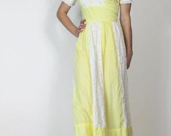 Summer Festival Dress Hippie Heidi Maxi Dress Yellow 70s Boho Dress Vintage 60s Dress xs s