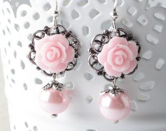 Bridesmaid pink earrings, pink wedding jewelry, pink rose earrings, vintage wedding, bridesmaid gift, garden wedding, shabby chic
