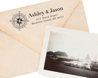 Personalized Address Stamp - Custom Address Stamp - Nautical - Compass - Housewarming - Home Office - Stationery Printing - DIY Addressing
