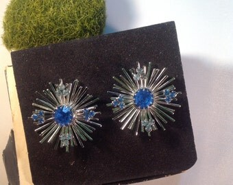Sarah Coventry Blue Rhinestone Earrings 7659 with Original Box
