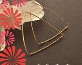 Gold Triangle Hoop Earrings, Large Triangular Hoop, Modern Geometric Hoop, 14K Gold Filled Twist Wire Hoop