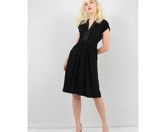 1940s dress / Vintage little black dress / 40s dress / Rayon and satin LBD S