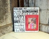 You Are My Sunshine Personalized Picture Frame With Distressed Wall Art on Wood, 16x16 Custom sign with a 5x7 Frame, Frame for Kids room.