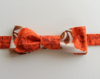 Large Floral Adjustable Bow Tie in Orange, Taupe // Cotton