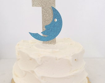 Blue and Gold Moon // Goodnight Moon  Birthday Cake Topper // Cake Topper