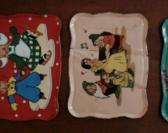 Mid-Century Tin Toy Tea Tray Collection, Trio, Snow White, Little Dutch Children, Green with a little Rust Well-Loved and Collectible