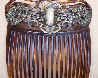 Art Nouveau Faux Tortoiseshell Hair Comb with Mother of Pearl Cabochon Hair Accessory Hair Jewelry Headdress Headpiece Decorative Comb