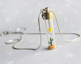 Summer Necklace with tiny cactus and sun. Miniature in Bottle. Terrarium necklace.