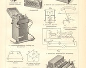 1904 Electrical and Electronic Measuring Equipment Vintage Engraving Print