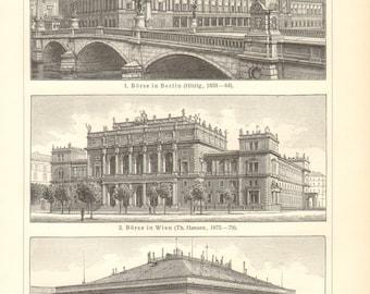 1903 Vintage Engraving Print of Stock Exchange Buildings in the 19th Century, Berlin, Vienna, Paris