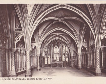 Sainte Chapelle- 1920s Antique Photograph- Paris, France- Gothic Cathedral- Holy Chapel Church- Real Photo Postcard- RPPC- Paper Ephemera