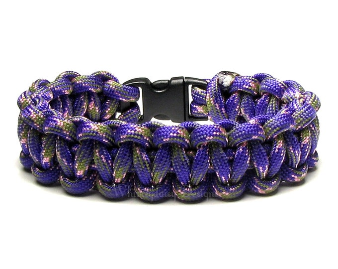 Paracord Bracelet Lotus Flower Purple Pink Olive Green Survival Camping Accessory Gift Men Women Veteran Hunting Outdoor Sports Boy Scouts