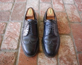 VTG Mens 10 ~ UK 9.5e Wide Black Leather Lace Up Wingtips Oxfords Brogues Dress Oxfords Steam Punk Wedding Hipster Spring Fashion Mod Moto
