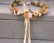 Champagne pink Blush flower crown Destination Wedding Bridal headpiece rose quartz dried hair wreath Accessories babys breath halo
