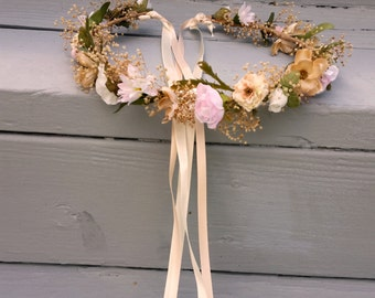 Flower Crown Champagne pink Blush Destination Wedding Bridal headpiece rose quartz dried hair wreath Accessories babys breath halo