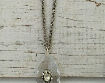 Large Glass Crystal Necklace with rhinestone accent Glass Chandelier Necklace repurposed necklace vintage Assemblage necklace