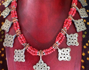 RESERVED RESERVED RESERVED for S Moroccan Berber Necklace with Old Red Beads and metal pieces