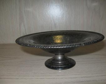 Silver Plate Pedestal Candy Dish Compote Rim Rope Design