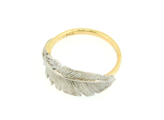 14k white gold and yellow gold feather ring by