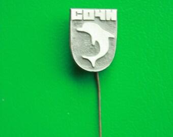 Dolphin - Sochi - Vintage Rare Pin from Spa Town - USSR CCCP Soviet Union Russian Pin Badge SOCHI