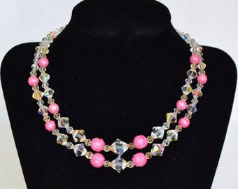 Vintage Necklace with Glass Beads and Pink Sugar Beads