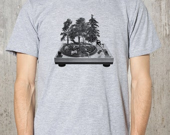 Turntable Forest T-Shirt - Men's Screen Printed American Apparel T-Shirt - Available in S, M, L, XL and XXL