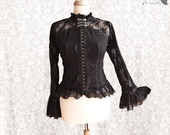 Blouse Victorian, romantic goth, Steampunk, black, romantic shirt, Maeror, Somnia Romantica, size medium see item details for measurements
