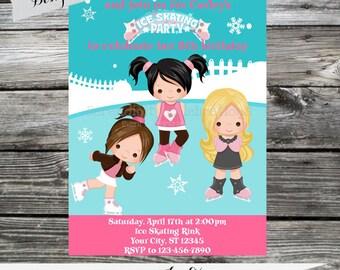 12 Printed Invitations By Serendipity Celebrations - Ice Skating -Skating Party -Birthday -Baby Shower -Printing Service