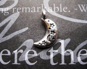 SALE - 8 Moon Charms  in Silver Tone - C1824