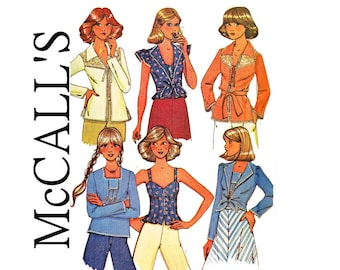 1970s Cami Blouses Smock Tops and Boho jackets UNCUT 70s Vintage Sewing Pattern Size 10 Bust 32 1/2 McCalls 32 1/2