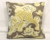 """Taupe and Yellow Dragon Pillow, Waverly Oriental Dunmore Dragons Sepia, Cover Only Or Insert Included, 17"""" Square Cushion, Ready to Ship"""