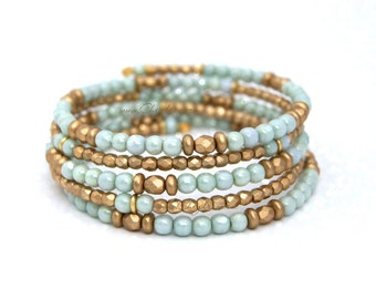 BEADED BRACELET, Wrap Bracelet, Beaded Wrap Bracelet, Beach Jewelry, Boho Beach Jewelry, Beach Lover Gift, Mint Beach Wedding by Cheydrea