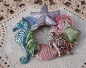 Sea Creature Circlet Vintage Enamel Brooch