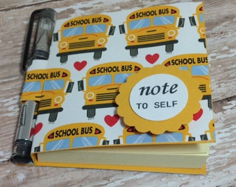 Small Journal- Post-it Note booklets- Sticky Notes Holder- Post-it Note Booklet and Pen- School Bus Post-It Notes- Stocking Stuffers- Bus