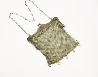 Art Deco Flapper's Purse - German Silver Chain Mesh or Chainmaille - 'German Silver' - Bohemian Style