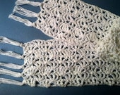 White Cotton Crochet Lacy Scarf 54 inches long