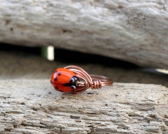 Ladybug Copper Wire Wrapped Ring, Wire Wrapped Jewelry, Copper Ring Size 9